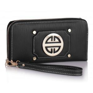 Moderní dámská peněženka se zlatou dekorací - černá