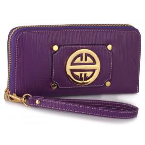 Moderní dámská peněženka se zlatou dekorací - fialová