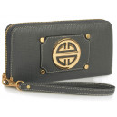 Moderní dámská peněženka se zlatou dekorací - šedá