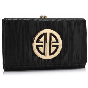 Moderní dámská peněženka se zlatou ozdobou - černá