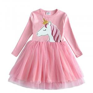 Dětské dívčí šaty, tunika s dlouhým rukávem s jednorožcem