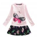 Dětské dívčí šaty, tunika s dlouhým rukávem růžová s motýlem