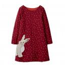 Dětské dívčí šaty, tunika s dlouhým rukávem červená s králíčkem