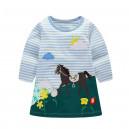 Dětské dívčí šaty, tunika s dlouhým rukávem  plameňák
