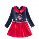 Dětské dívčí šaty, tunika s dlouhým rukávem červenomodrá