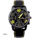 Pánské stylové sportovní silikonové hodinky - černé se žlutou