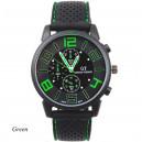 Pánské stylové sportovní silikonové hodinky - černé se zelenou