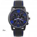 Pánské stylové sportovní silikonové hodinky - černé s modrou