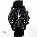 Pánské stylové sportovní silikonové hodinky - černé s bílou