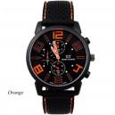 Pánské stylové sportovní silikonové hodinky - černé s oranžovou