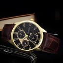 Pánské elegantní kožené hodinky - hnědé
