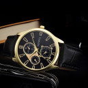 Pánské elegantní kožené hodinky - černé