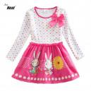 Dětské dívčí šaty, tunika s dlouhým rukávem bílorůžová