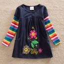 Dětské dívčí šaty, tunika s dlouhým rukávem s kytičkami