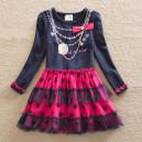 Dětské dívčí šaty, tunika s dlouhým rukávem s korálkami