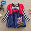 Dětské dívčí šaty, tunika s dlouhým rukávem a bolerkem se sovičkou