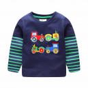 Dětské chlapecké tričko, triko s dlouhým rukávem s traktory