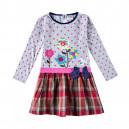 Dětské dívčí šaty, tunika s dlouhým rukávem šedá s kytičkami