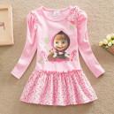 Dětské dívčí šaty, tunika s dlouhým rukávem Máša a medvěd