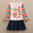 Dětské dívčí šaty, tunika s dlouhým rukávem kytičková