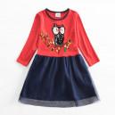 Dětské dívčí šaty, tunika s dlouhým rukávem červená se sovičkou