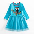 Dětské dívčí šaty, tunika s dlouhým rukávem modrá se sovičkou