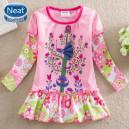 Dětské dívčí šaty, tunika s dlouhým rukávem s pávem