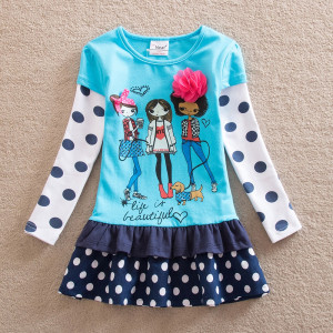 Dětské dívčí šaty, tunika s dlouhým rukávem 3D holky