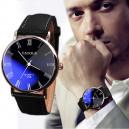 Pánské modní kožené hodinky - černé