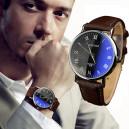 Pánské modní kožené hodinky - hnědé
