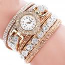 Moderní retro dámské hodinky osázené krystaly - zlaté