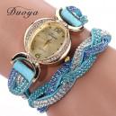 Moderní retro dámské hodinky osázené krystaly - modré