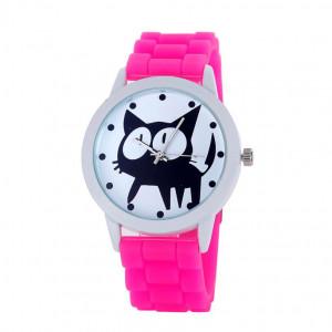 Super dámské silikonové hodinky s kočkou růžové