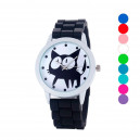 Super dámské silikonové hodinky s kočkou černé