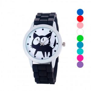 eeb237b710f Super dámské silikonové hodinky s kočkou černé - Angel fashion