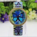 Módní dámské hodinky s elastickým páskem a krystaly - motýl