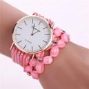 Moderní dámské hodinky osázené krystaly a korálky růžové
