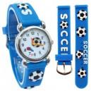 Dětské, chlapecké, silikonové hodinky s míčem - fotbal