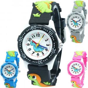 Dětské silikonové hodinky 3D s dinosaurem - 4 barvy
