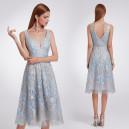 Luxusní společenské dámské šaty šedé s modrými kvítky