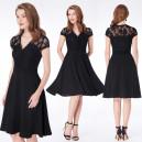 Dámské krátké společenské šaty černé s krajkou a knoflíčky