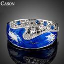 Luxusní stříbrný masivní náramek, modrý swarovski krystal B0186