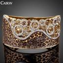 Luxusní zlatý masivní náramek s krystaly, motiv leoparda
