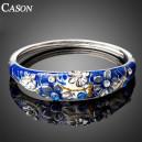 Luxusní stříbrný masivní náramek s krystaly, modrý s olejomalbou