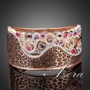 Luxusní zlatý masivní náramek s barevnými krystaly, motiv leoparda