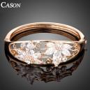 Luxusní zlatý květinový náramek s krystaly