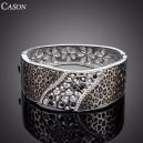 Luxusní stříbrný masivní náramek s krystaly, motiv leoparda