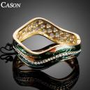 Luxusní zlatý masivní náramek s krystaly a olejomalbou