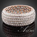 Luxusní zlatý masivní náramek s bílými krystaly