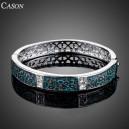 Luxusní stříbrný masivní náramek s krystaly, tyrkysový